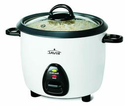 Rival 10-Cup Rice Cooker with Steamer Basket, White/Black (R