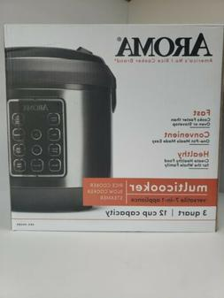 AROMA 12 Cup 3 Quart Rice Cooker / Slow Cooker / Steamer Bla
