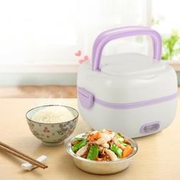 1L Stainless steel Electric Lunch Box Mini Rice Cooker Porta
