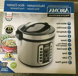 AROMA - 20-Cup Rice Cooker and Steamer - Black/Stainless Ste