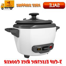 3-Cup Electric Rice Cooker with Keep-Warm Function, White, T