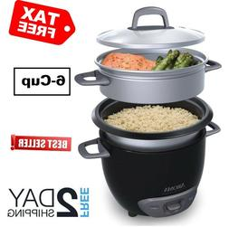 6 Cup Rice Cooker Steamer Durable One Touch Design Steam Tec