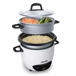 6 Cup Rice Cooker with Steamer Durable One Touch Design & St