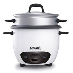 Aroma 6 Cup White Pot Style Rice Cooker & Foodsteamer- ARC-7