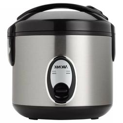 8 Eight Cup Rice Cooker chrome nonstick pot locking lid cond