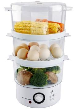Ovente 3-Tier Electric Steamer for Vegetables and Food with