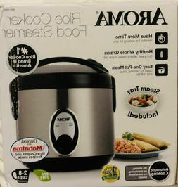 Aroma 8 Cup  Rice Cooker - Stainless Steel ARC-904SB, New Op