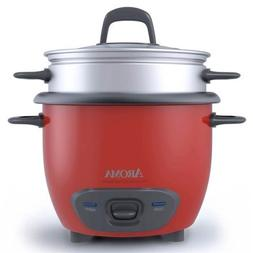 Aroma ARC-743-1NGR 6-Cup Rice Cooker and Food Steamer - Red