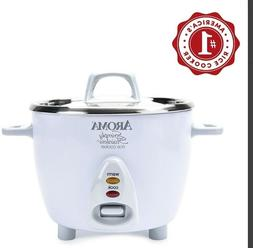 Aroma Simply Stainless Rice Cooker White Cooks 3 cups uncook