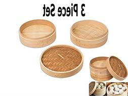 Xena All Natural 9 Inch Asian Kitchen Bamboo Steamer Basket