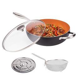 MICHELANGELO 5 Quart Nonstick Woks and Stir Fry Pans With Li