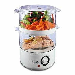 Oster CKSTSTMD5-W 5-Quart Double Tiered Food Steamer, White,