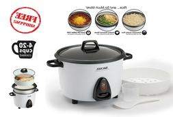 Electric Rice Cooker Aroma 20 Cup Food Steamer White-Rice Co