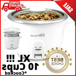 Electric Rice Cooker Pot 10 Cups Easy One Touch Stainless St