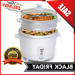 Electric Rice Multi Pot Cooker Steamer 6 Cups Stainless Stee