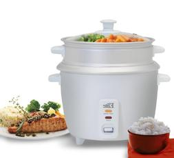 Elite Gourmet ERC-003ST 6-Cup Rice Cooker with Steam Tray, W