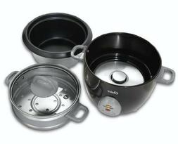 Food Steamer Rice Cooker Glass Lid 6 Cup Keep Warm Non Stick