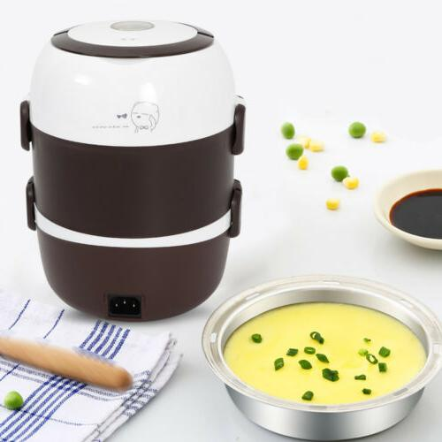 3 layer lunch box portable rice cooker