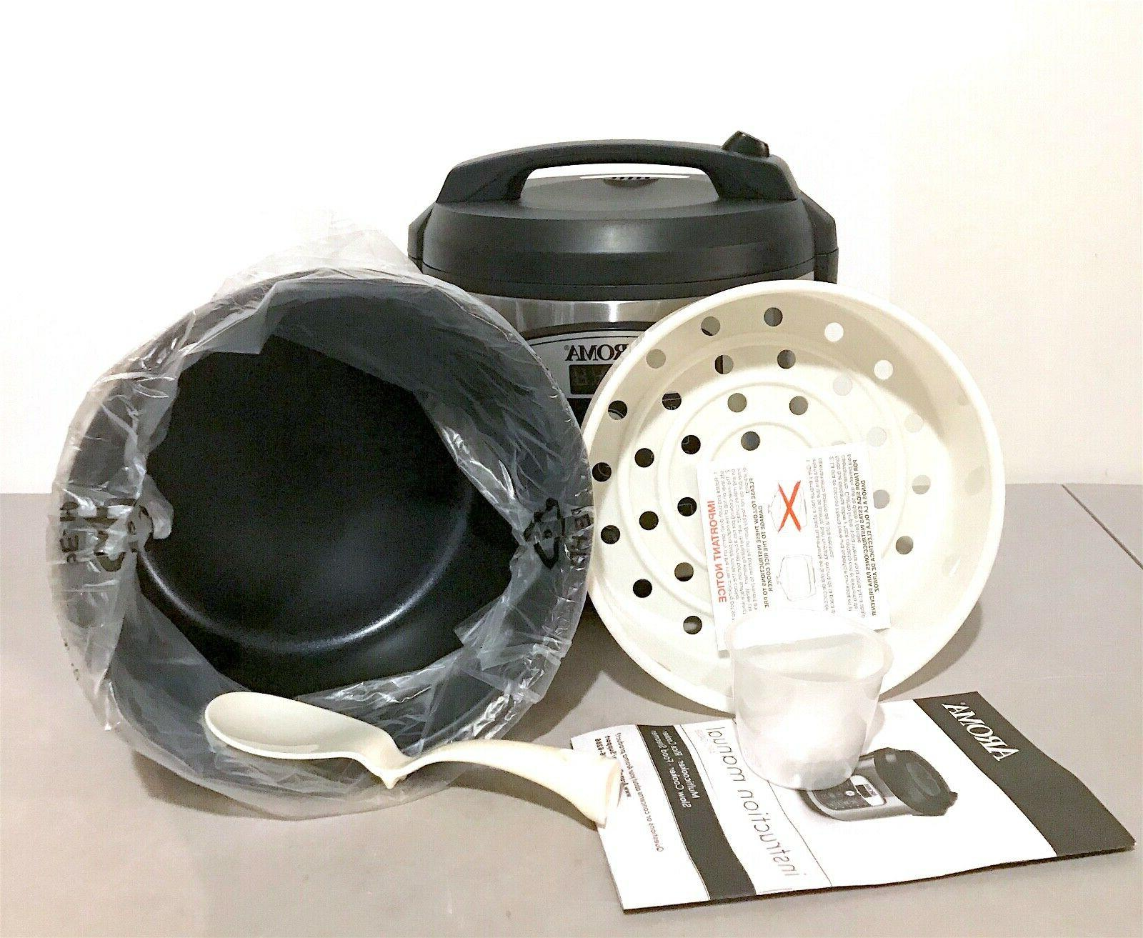 AROMA 20 Cup 5 Quart Rice Steamer - Black/Stainless Steel ARC-1040SB