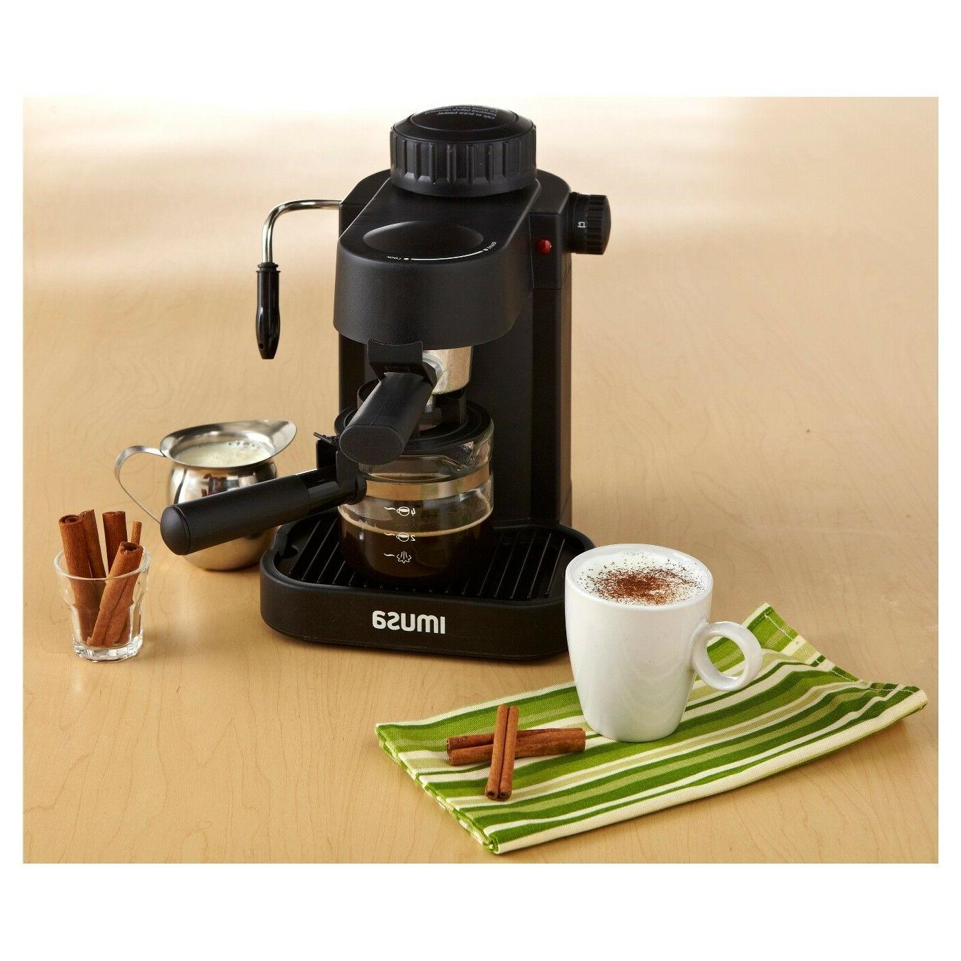 4 cup espresso and cappuccino maker black