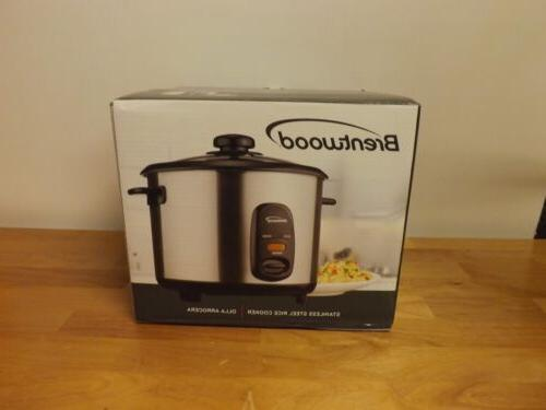 Brentwood 5-Cup Steel Rice Cooker, Stainless- TS-10- NEW