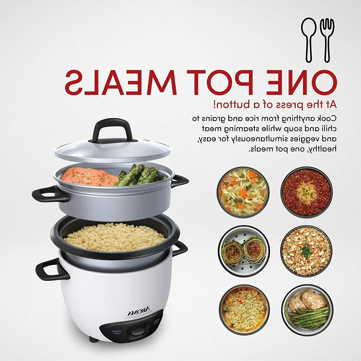 Aroma Rice Cooker And Steamer Stick Pot Automatic 6 Cup
