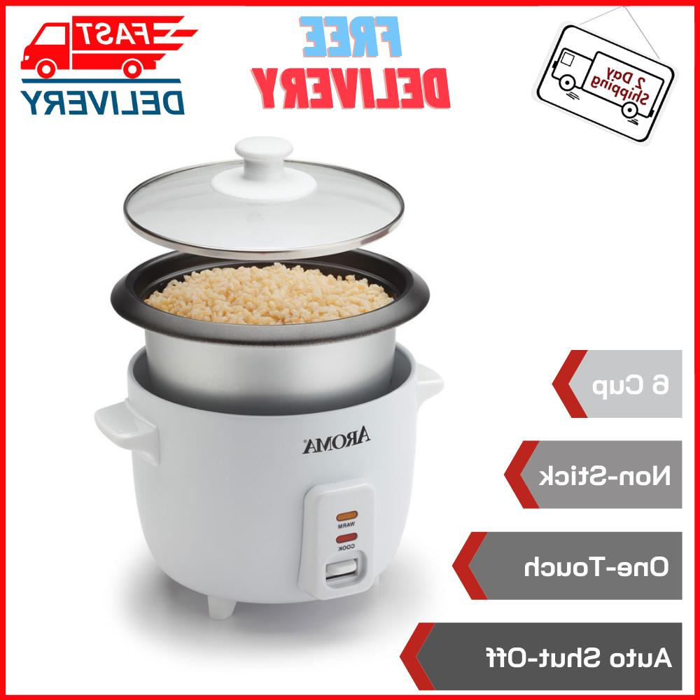 Aroma 6 Cup Non-Stick Simple One-Touch Pot Style White Rice
