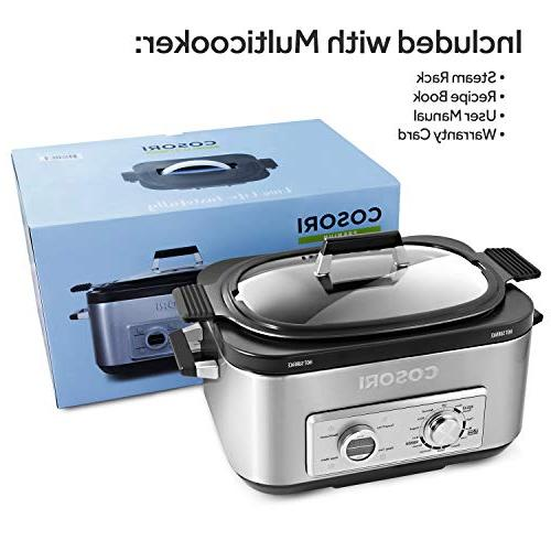 COSORI 6 Qt Programmable Cooker, Rice Saute, Maker, 86°F-400°F, Stainless 2-Year Warranty