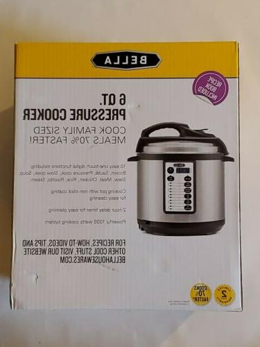 Bella - 6-Quart Pressure Rice Meat Cooker - Black/Silver New