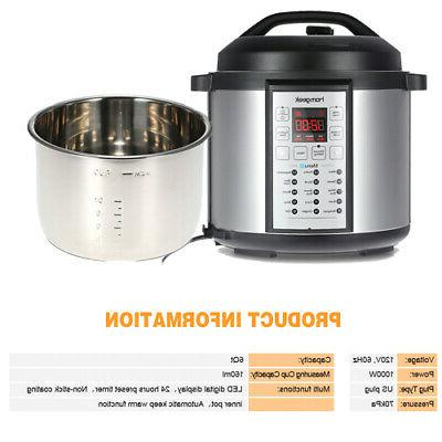 6qt 1000w high end professional pressure slow
