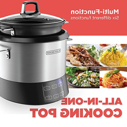 BLACK+DECKER Pot, 20-Cup Cooked/10-Cup Uncooked Rice Slow and Food with Saute Steel