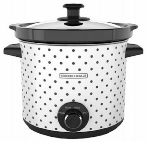 Black & Decker SC1004D Slow Cooker, 4 Quart, Black/White, 1