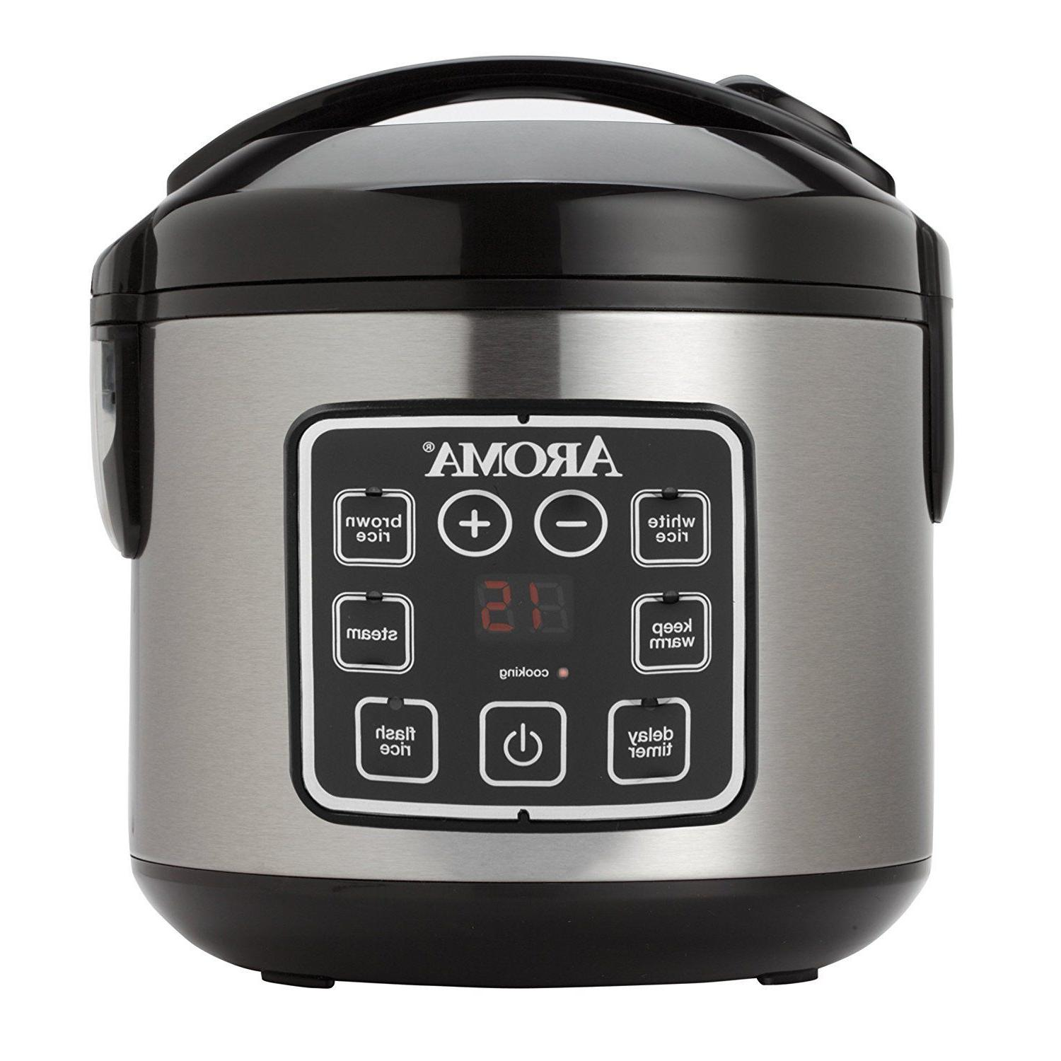 Aroma Digital Rice Cooker and Food Steamer  2-8 Cup  Uncooke