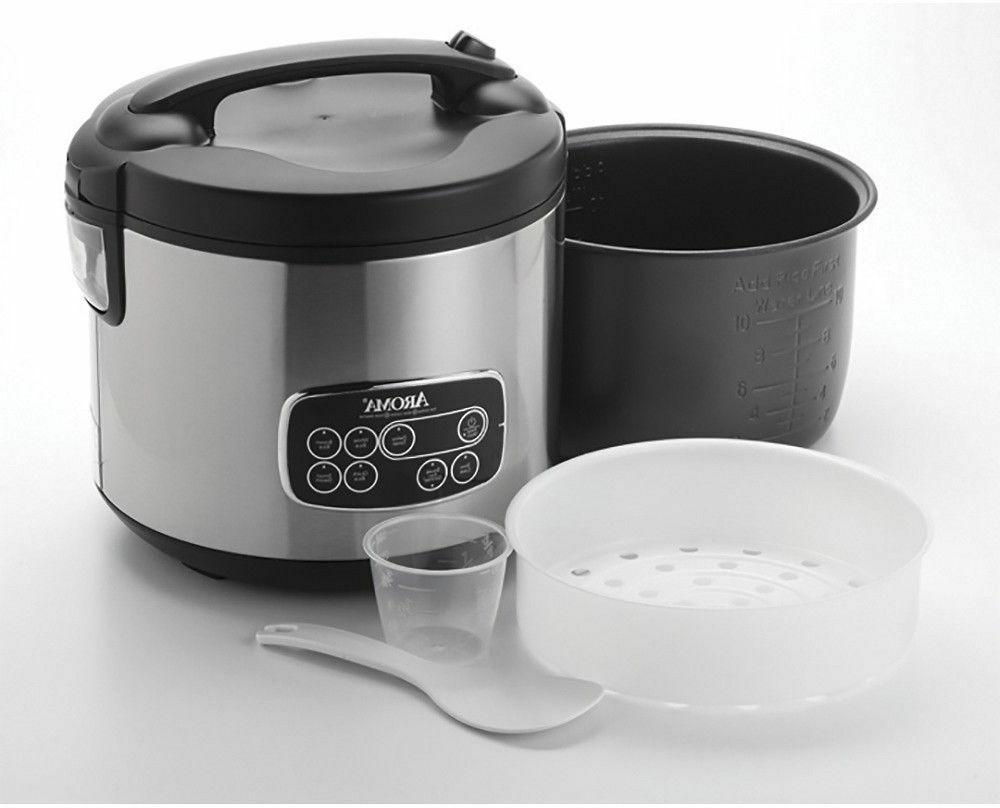 Aroma Professional Rice/Slow Steamer Silver/Blk NEW