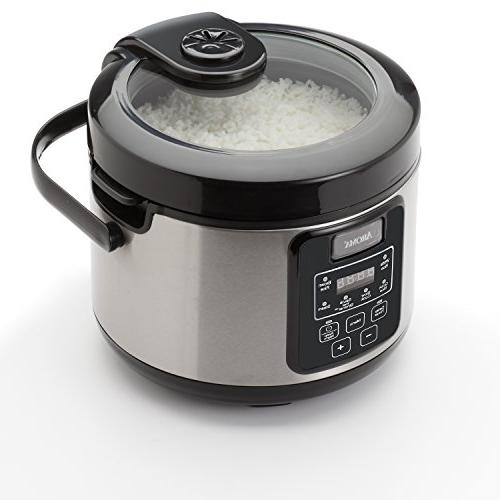 aroma professional cup uncooked rice cooker silver