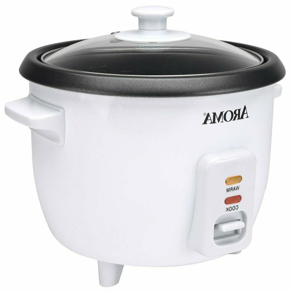 Aroma 6 Cup Non-Stick Pot Style White Rice Cooker 3 Piece