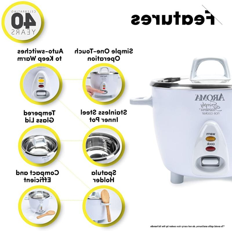 Aroma Simply 3-Cup Uncooked Rice Cooker, White