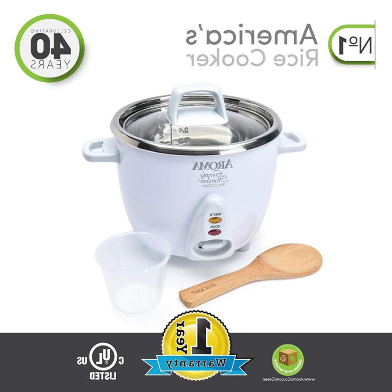 Aroma Simply Stainless 3-Cup Uncooked to Rice Cooker,