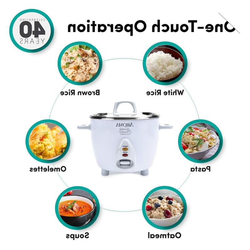 Aroma Stainless Uncooked 6-Cup Rice Cooker, White