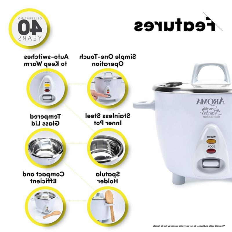 Aroma Stainless 3-Cup Uncooked 6-Cup Cooked Rice Cooker,