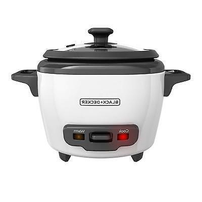 BLACK+DECKER Uncooked Rice Cooker Steamer, White,