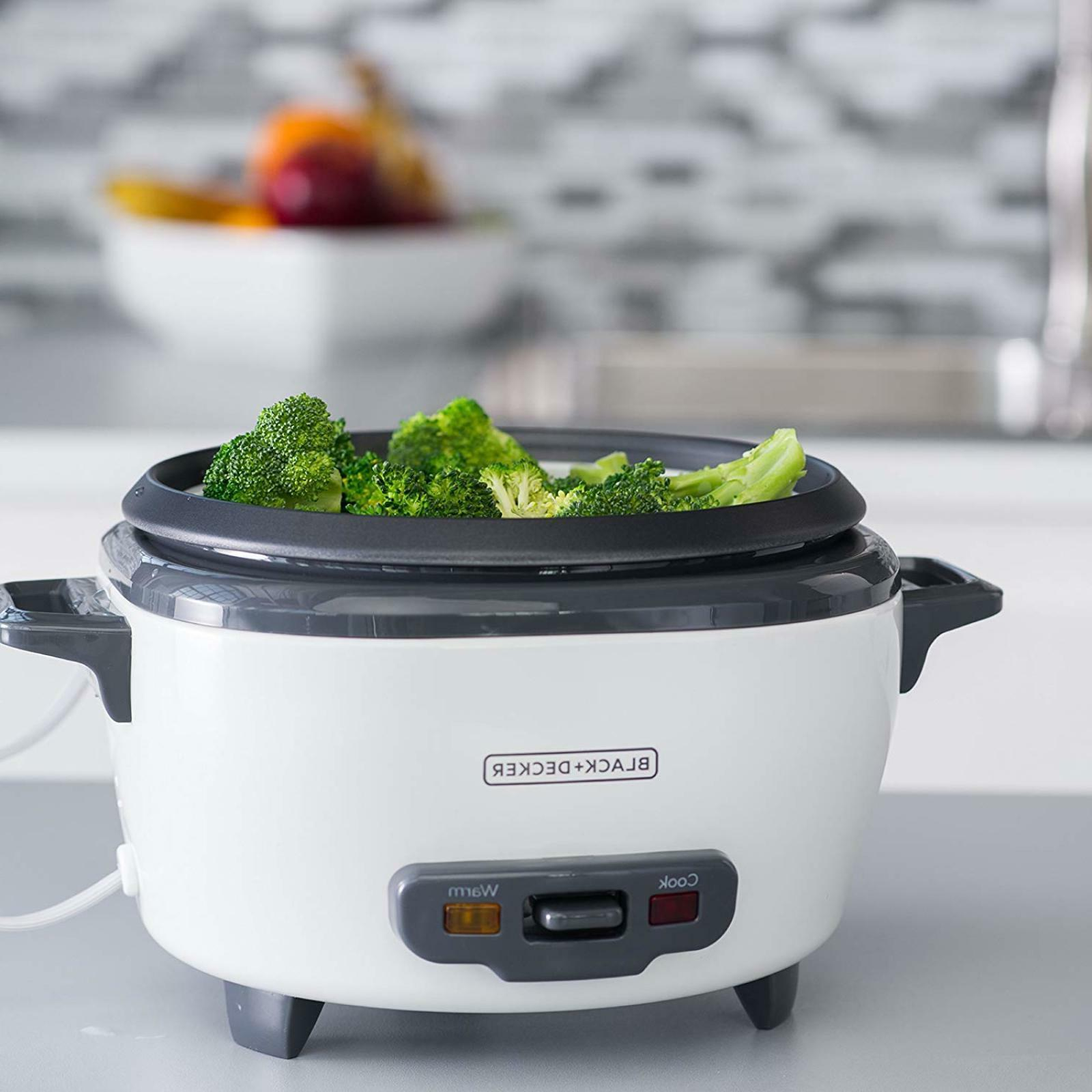 BLACK DECKER Cup Cooked Rice Steamer Food Uncooked RC506 Whi