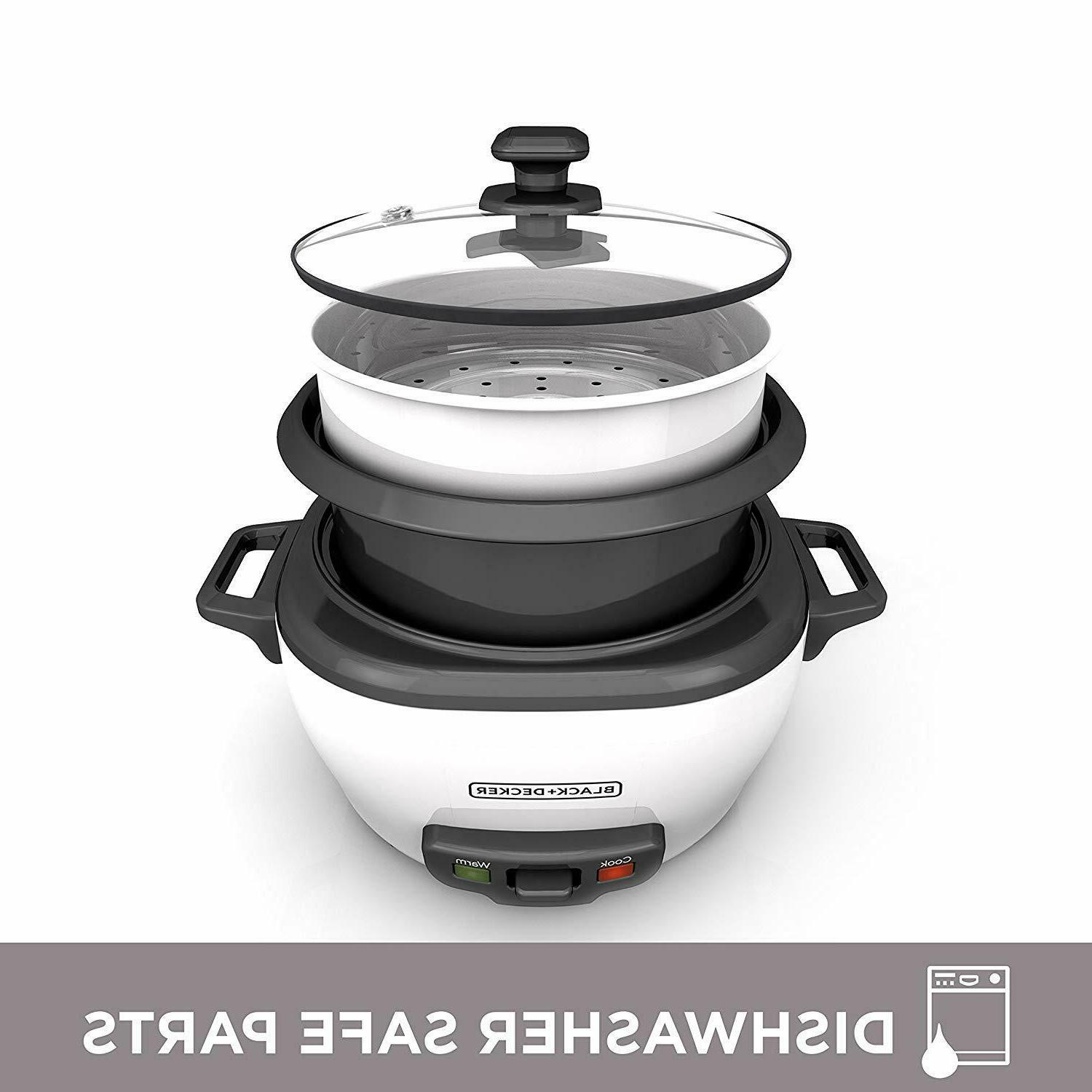 RICE COOKER 6-Cup Cooked 3-Cup Uncooked Nonstick Pot White E