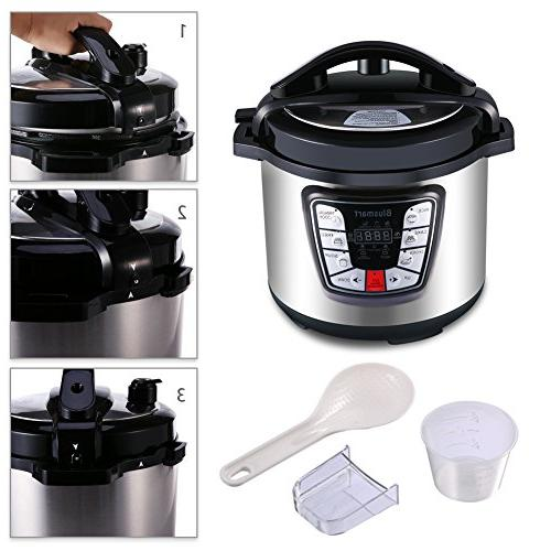 Blusmart Electric Pressure Cooker, Programmable 6Qt 1000W Cooker |Stainless