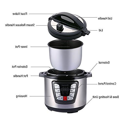 Blusmart 7-in-1 Electric Pressure Cooker, Multi-Use Programmable 6Qt 1000W Cooker |Stainless