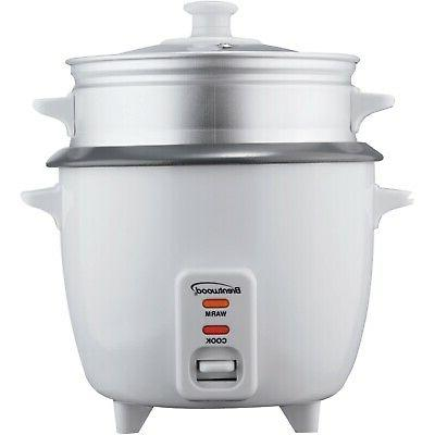 Brentwood 5 Cup Rice Cooker with Steamer in White TS-600S