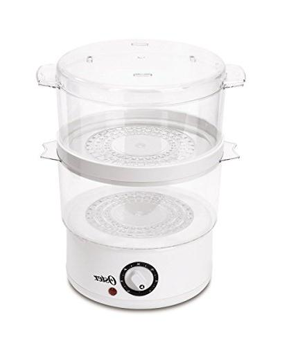 Oster CKSTSTMD5-W Tiered Food Steamer, White, New, Free