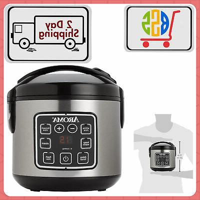digital rice cooker and food meat vegetables