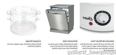 Oster Food Steamer Rice Meat 2-Tier 5-Quart White