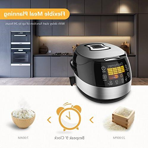Electric Rice Elechomes 10 Cups Electric Cooker Stainless Multi-Cooker Steamer Warmer, Non-Stick Surface and Timer